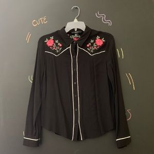 Forever21 Black Western Style Button Up